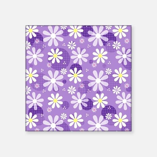 Retro Daisies Purple Gingham Circles Square Sticke