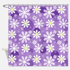 Retro Daisies Purple Gingham Circles Shower Curtai