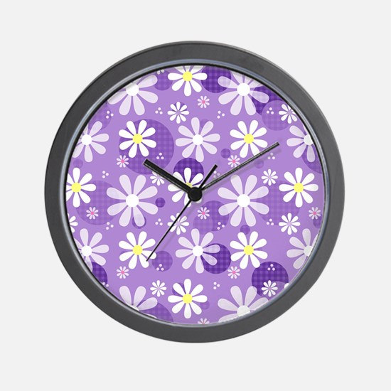 Retro Daisies Purple Gingham Circles Wall Clock