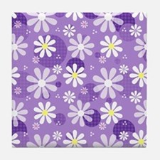 Retro Daisies Purple Gingham Circles Tile Coaster