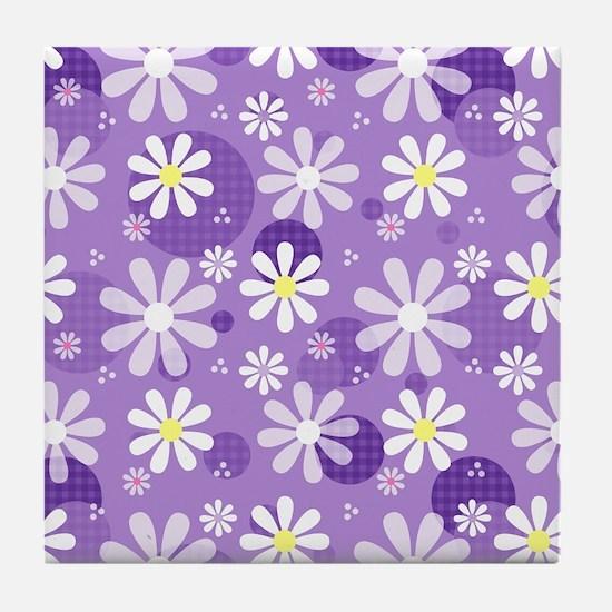Retro Daisies Purple Gingham Circles Tile Coaster