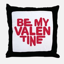 Be my valentine red heart Throw Pillow