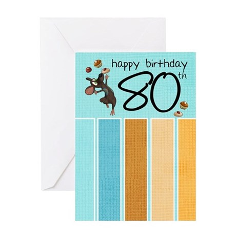 80th Birthday Greeting Card With Mouse And Cakes