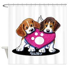 Valentine Beagle Duo Shower Curtain