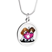 Valentine Beagle Duo Silver Round Necklace