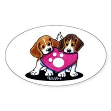 Valentine Beagle Duo Decal