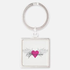 Yasmin-angel-wings.png Square Keychain