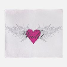 Violet-angel-wings.png Throw Blanket
