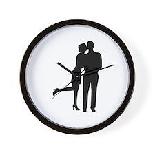 Couple kiss love Wall Clock
