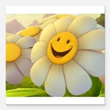 """Smiling Daisy Square Car Magnet 3"""" x 3"""""""