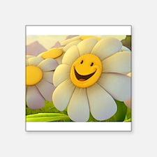 "Smiling Daisy Square Sticker 3"" x 3"""