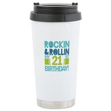 21st Birthday Rock and Roll Travel Mug