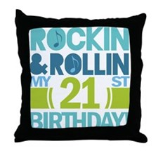 21st Birthday Rock and Roll Throw Pillow