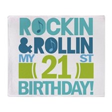 21st Birthday Rock and Roll Throw Blanket