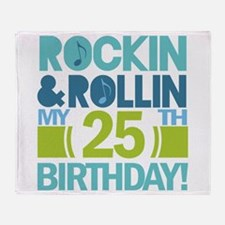 25th Birthday Rock and Roll Throw Blanket