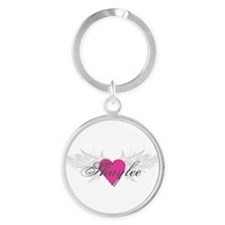 Shaylee-angel-wings.png Round Keychain