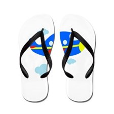 Blue Airplane in the Clouds Flip Flops