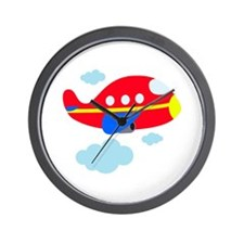 Red Cartoon Airplane Wall Clock