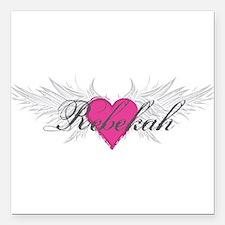 "Rebekah-angel-wings.png Square Car Magnet 3"" x 3"""