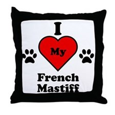 I Heart My French Mastiff Throw Pillow