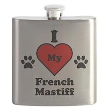 I Heart My French Mastiff Flask
