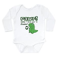 Cute! RAWR Means Love Long Sleeve Infant Bodysuit