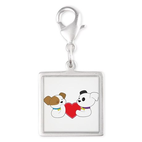 Puppies and Heart Silver Square Charm