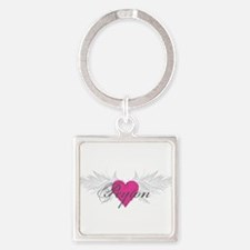 Peyton-angel-wings.png Square Keychain
