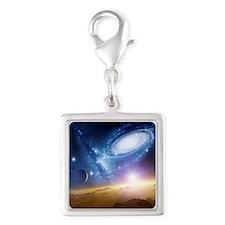 Colliding galaxies, artwork - Silver Square Charm