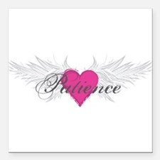 "Patience-angel-wings.png Square Car Magnet 3"" x 3"""