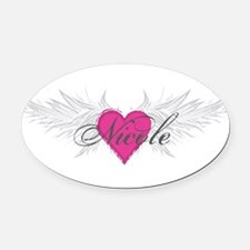 Nicole-angel-wings.png Oval Car Magnet