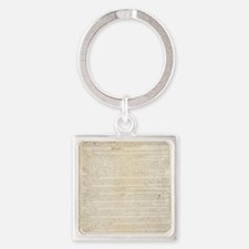 The Us Constitution Square Keychain