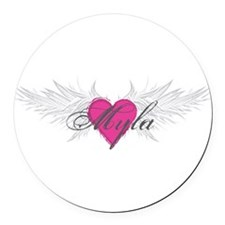 Myla-angel-wings.png Round Car Magnet