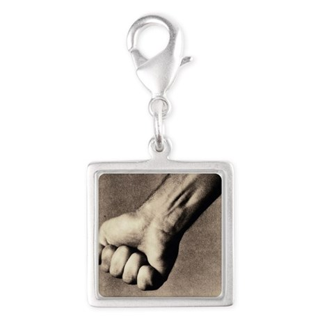 Man's clenched fist - Silver Square Charm