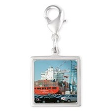 Container ship - Silver Square Charm