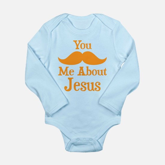 Mustache Me About Jesus Long Sleeve Infant Bodysui