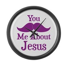 Mustache Me About Jesus Large Wall Clock