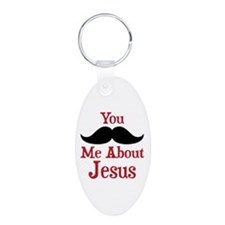 Mustache Me About Jesus Aluminum Oval Keychain