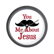 Mustache Me About Jesus Wall Clock