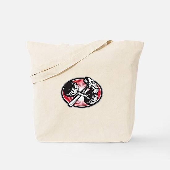 Dumbbell Anvil and Sledgehammer Retro Tote Bag