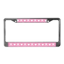 Pink Spider Heart License Plate Frame