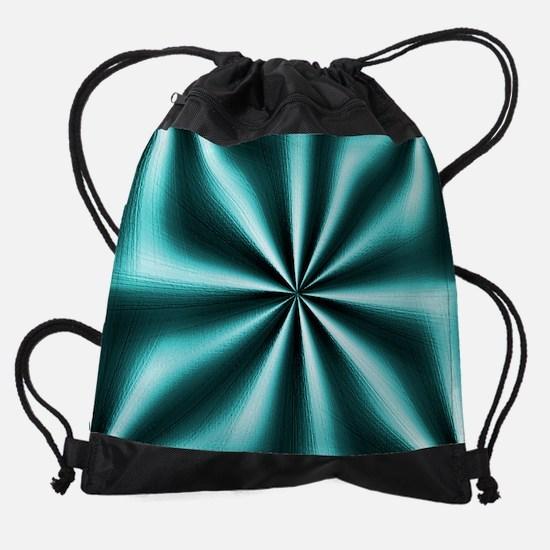 Graphic Teal Drawstring Bag