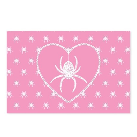 Pink Spider Heart Postcards (Package of 8)