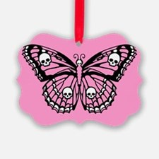 Pink Skull Butterfly Ornament