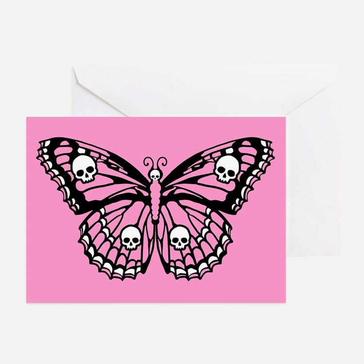 Pink Skull Butterfly Greeting Cards (Pk of 20)