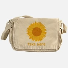 Sunflower. Custom Text. Messenger Bag
