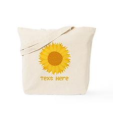 Sunflower. Custom Text. Tote Bag