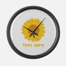 Sunflower. Custom Text. Large Wall Clock