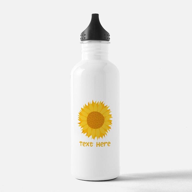 Sunflower. Custom Text. Water Bottle