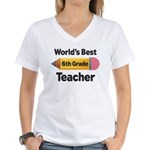 6th Grade Teacher Pencil Women's V-Neck T-Shirt